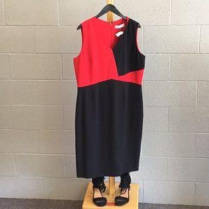 14 kasper red black dress